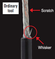 Conventional tools cannot cut all the way through, and often leave behind whiskers of insulation or scratch the wire.