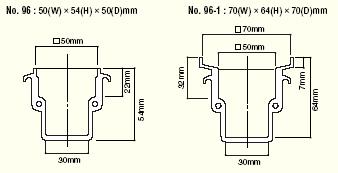 Dimensions of HAKKO 96 and HAKKO 96-1 Soldering pot