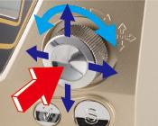 多方向操作用ツマミによる簡単設定