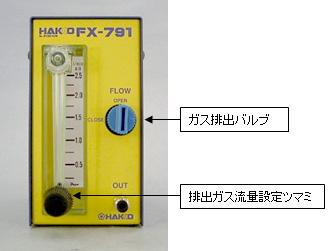 排出ガス流量設定ツマミをN2の開閉に使用すると故障します。